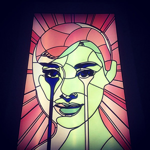 London Artist Pure Evil Puts Audrey Hepburn In Stained Glass